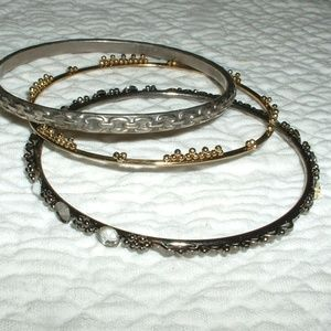 3 Bangles   Metal Toned